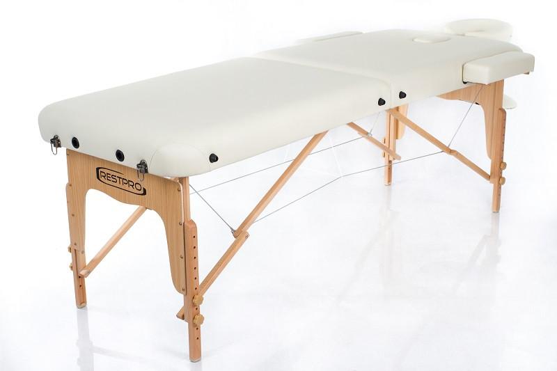 Складаний масажний стіл 2 секції каркас дерев'яний з регулюванням висоти колір ваніль RESTPRO VIP 2