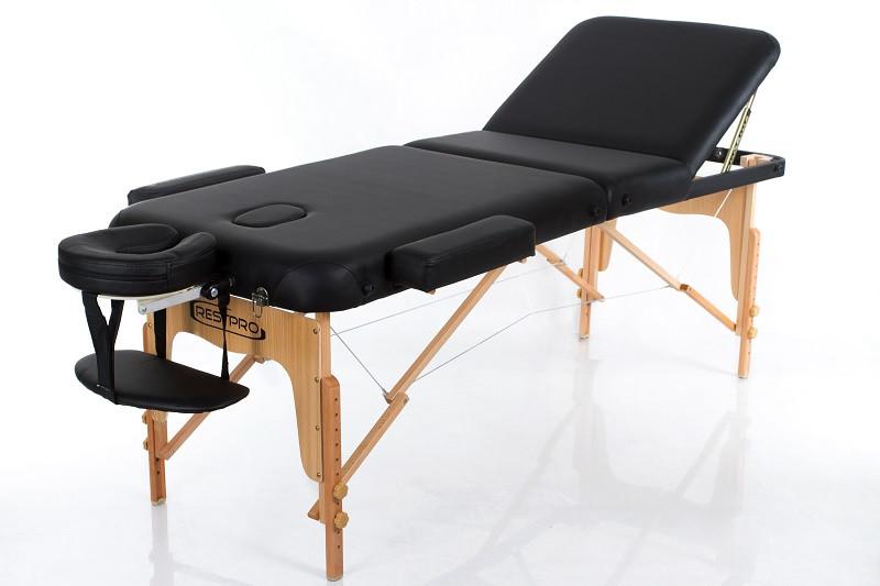 Складной Массажный стол 3 секции кушетка массажная с регулировкой высоты RESTPRO VIP 3 Чорний