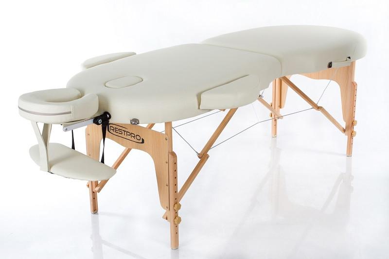 Складні Масажний стіл 2 сегментний дерев'яний переносний кушетка масажна RESTPRO VIP OVAL 2 Бежевий