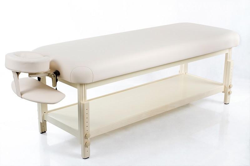 Стационарный деревянный массажный стол с регулировкой высоты кушетка для массажа  RESTPRO Classic-Flat Бежевый