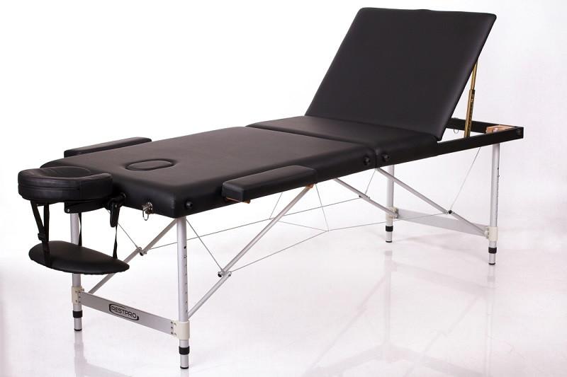 Складаний масажний стіл валізу алюмінієвий трисекційний кушетка масажна переносна чорна RESTPRO ALU 3