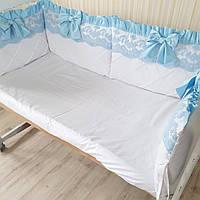"""Бортики в кроватку """" голубой бантик"""", фото 1"""