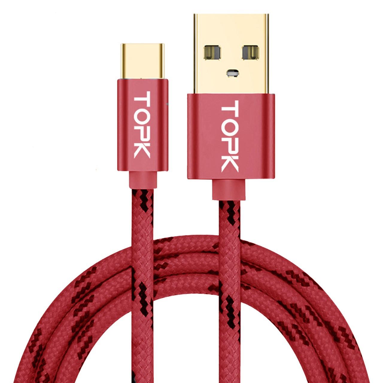 Кабель синхронизации Topk USB - Type-C 3A 1 м Red (3873-10873)
