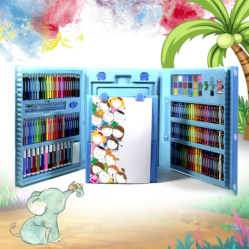 Набір для дитячої творчості та малювання Lesko Super Mega Art Set 208 предметів Blue (4696-13585)
