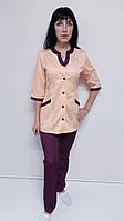 Женский медицинский костюм Радуга коттон три четверти рукав, фото 1