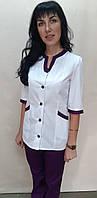 Жіночий медичний костюм Веселка коттон три чверті рукав, фото 1