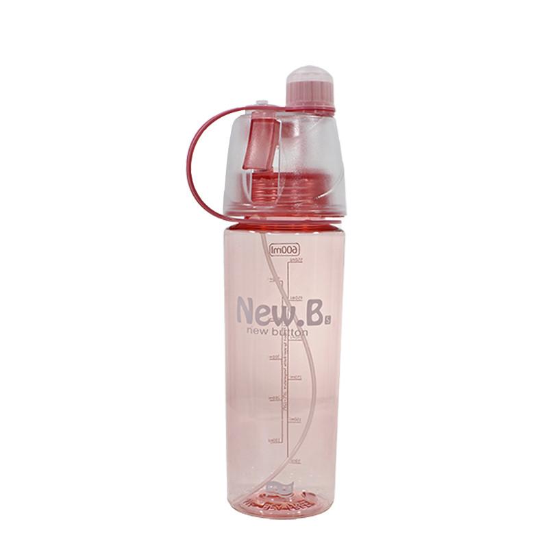 Спортивная бутылка для воды Lesko DF-078 с распылителем 600ml Розовый (4900-14385)