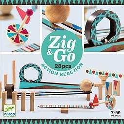 Деревянный конструктор DJECO Zig & Go 28 деталей