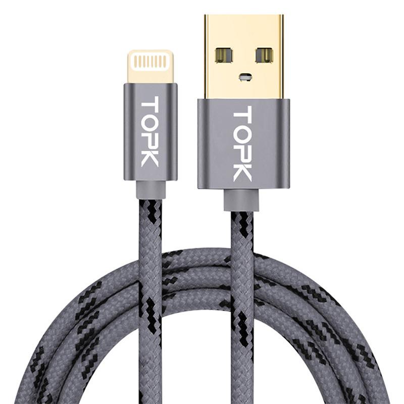 Кабель синхронизации Topk Llightning Gray USB 2m 3A нейлоновый для смартфона (3874-14555)