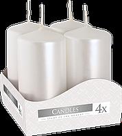 Декоративные свечи, комплект из 4-х шт BISPOL sw40/80-x белый перламутр (8 см)