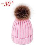 Детская зимняя шапка с теплым мехом для девочки 8-9-10-11 лет, светло-розовая пудра, фото 3