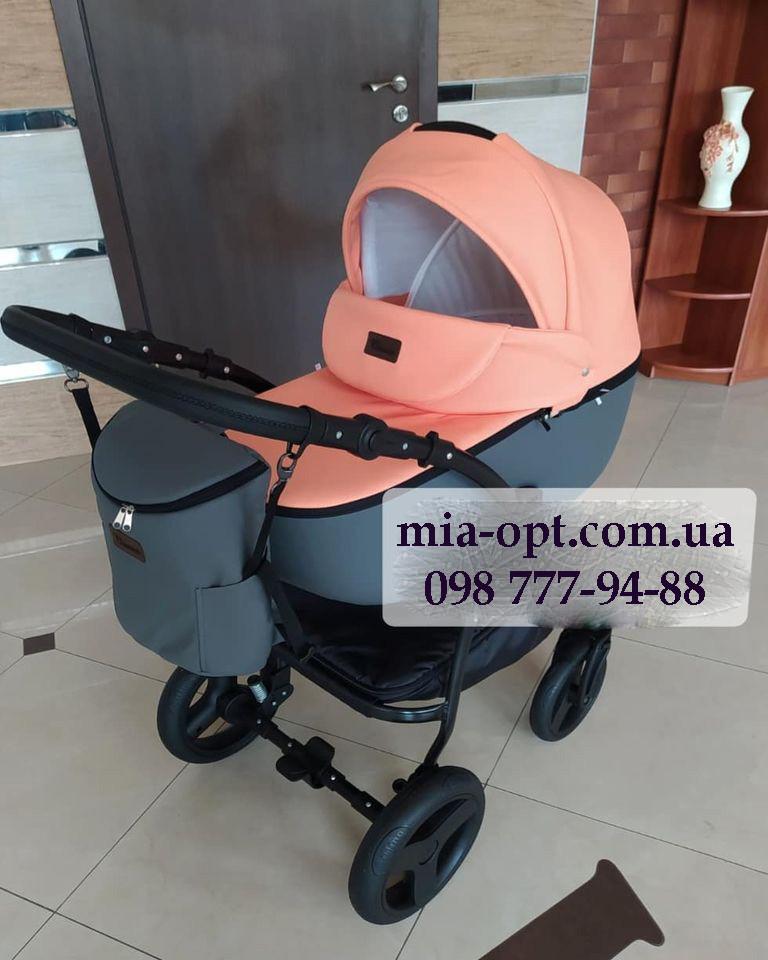 Детская коляска 2 в 1 Saturn Len Classik (Сатурн Лен Классик) Victoria Gold эко кожа персиковый