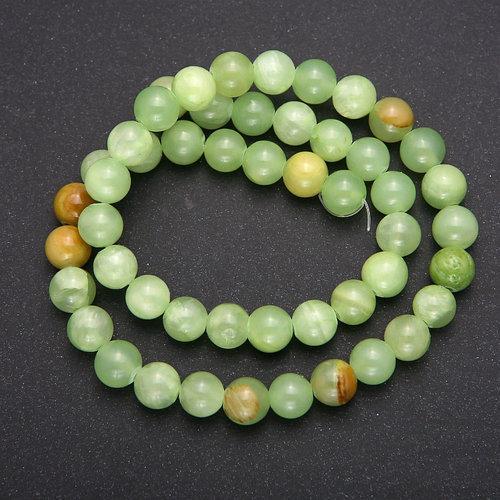 Бусины(d6) из натурального блестящего гладкого камня зелёный Оникс, зелений онікс натуральний