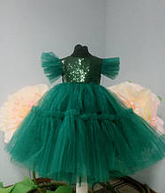 Зеленое детское пышное платье Ёлочка на рост 80-104