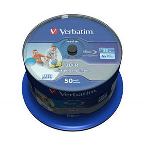 Диски BD-R Verbatim (43812) 25Gb 6X Wide Inkjet Printable 50 шт. Spindle