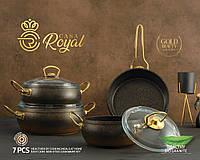 """Набор посуды Gold Beauty от CASA ROYAL с антипригарным покрытием """"Bio Granit"""", 7 предметов. Черный с золотой"""