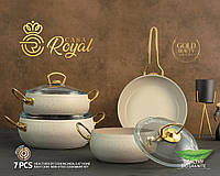"""Набор посуды Gold Beauty от CASA ROYAL с антипригарным покрытием """"Bio Granit"""", 7 предметов.. Слоновая кость"""