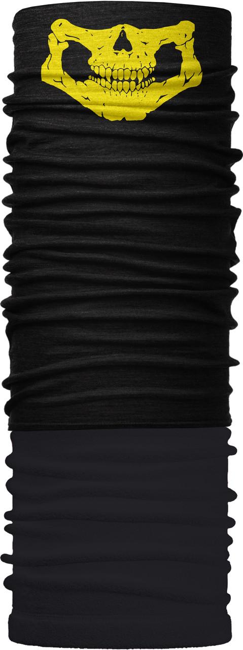 Зимовий бафф Бандана-трансформер Щелепа жовта фліс Чорний (ZBT-092)