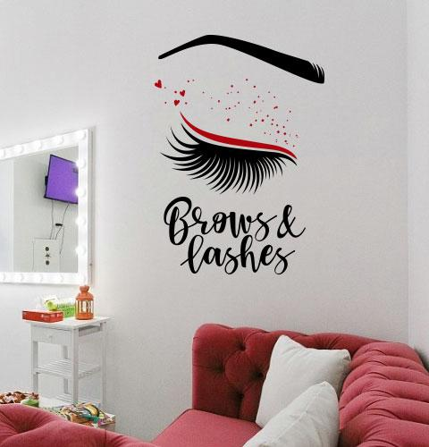 Вінілова наклейка Brows and Lashes (погляд вії брови дівчина декор салону краси) матова 500х700 мм