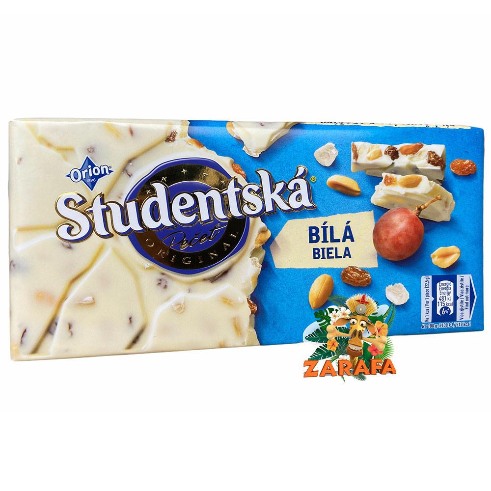 Белый шоколад с арахисом и изюмом Studentska