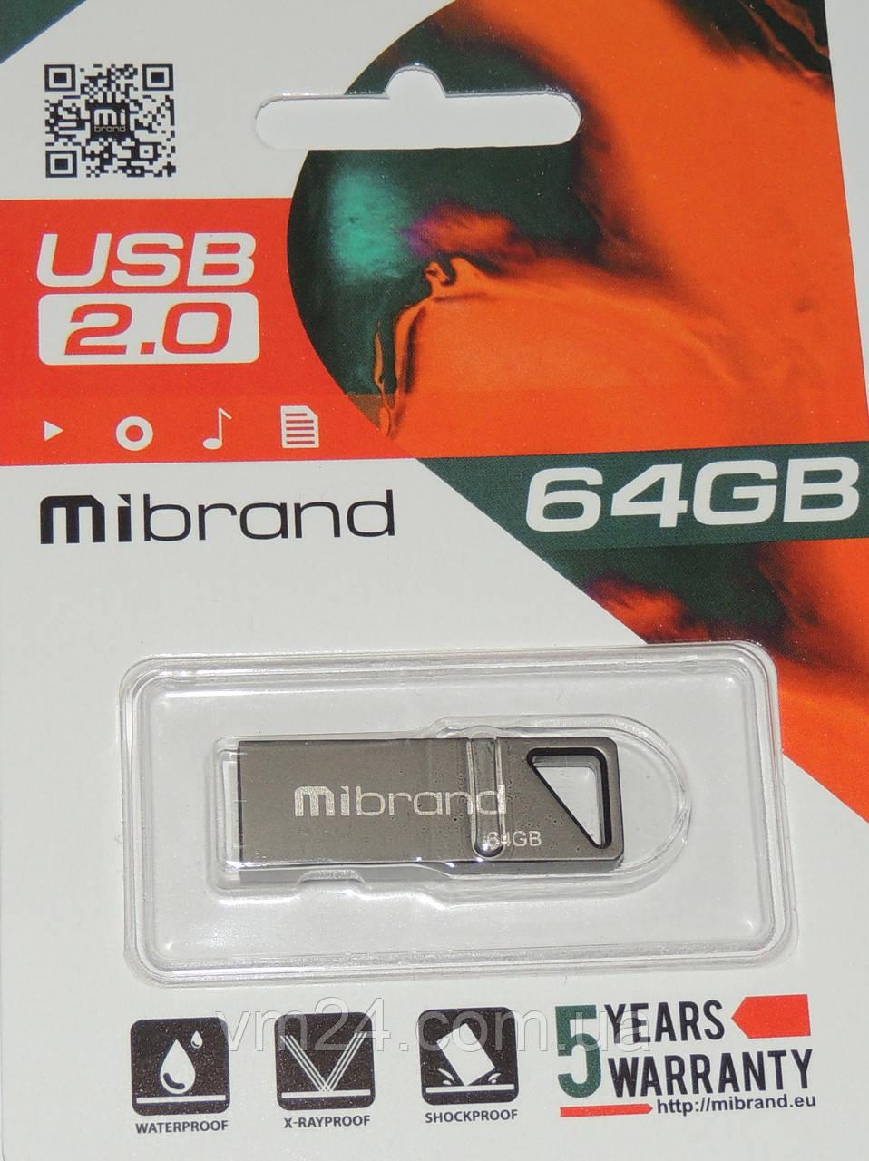 USB флеш Mibrand 64GB 2.0 Metal гарантія 2 роки