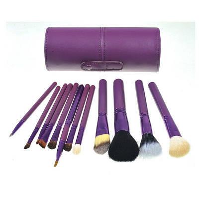 Набор 12 кистей для макияжа Bananahall в фиолетовом чехле-тубусе (bnnhll2041)
