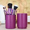 Набір 12 кистей для макіяжу Bananahall у фіолетовому чохлі-тубусі (bnnhll2041), фото 4