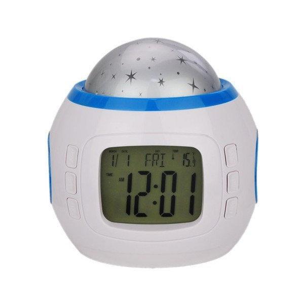 Нічник з годинником проектор зоряного неба Yuhai UI-1038 Білий (007721)