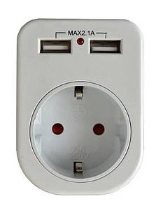 Сетевой адаптер Lemanso с 2-мя розетками USB (LM681)