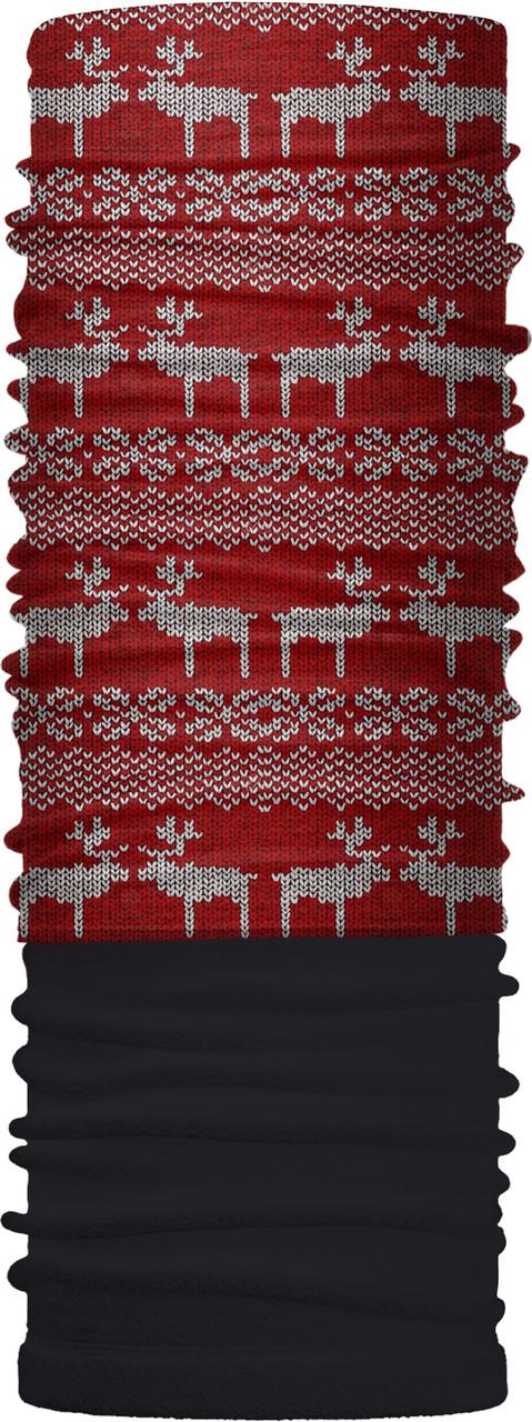 Зимовий бафф Бандана-трансформер Оленi №1 Чорно-червоний (ZBT-065)
