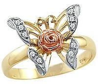 Позолоченое кольцо 585 пробы милая бабочка цирконий размер 20 см