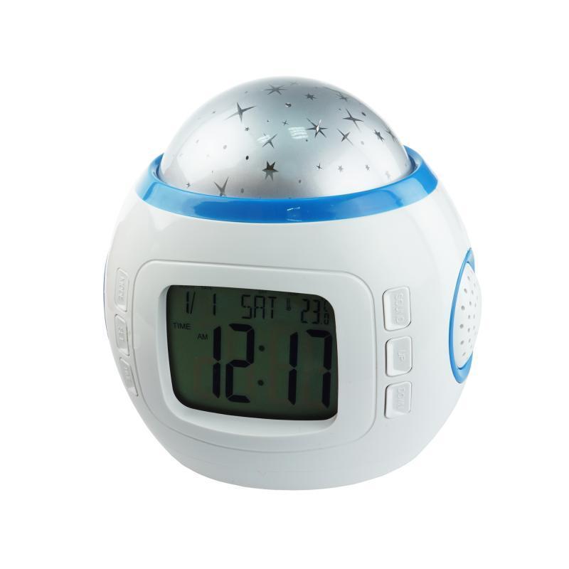 Часы-музыкальный проектор звездного неба Supretto Белый (C245)