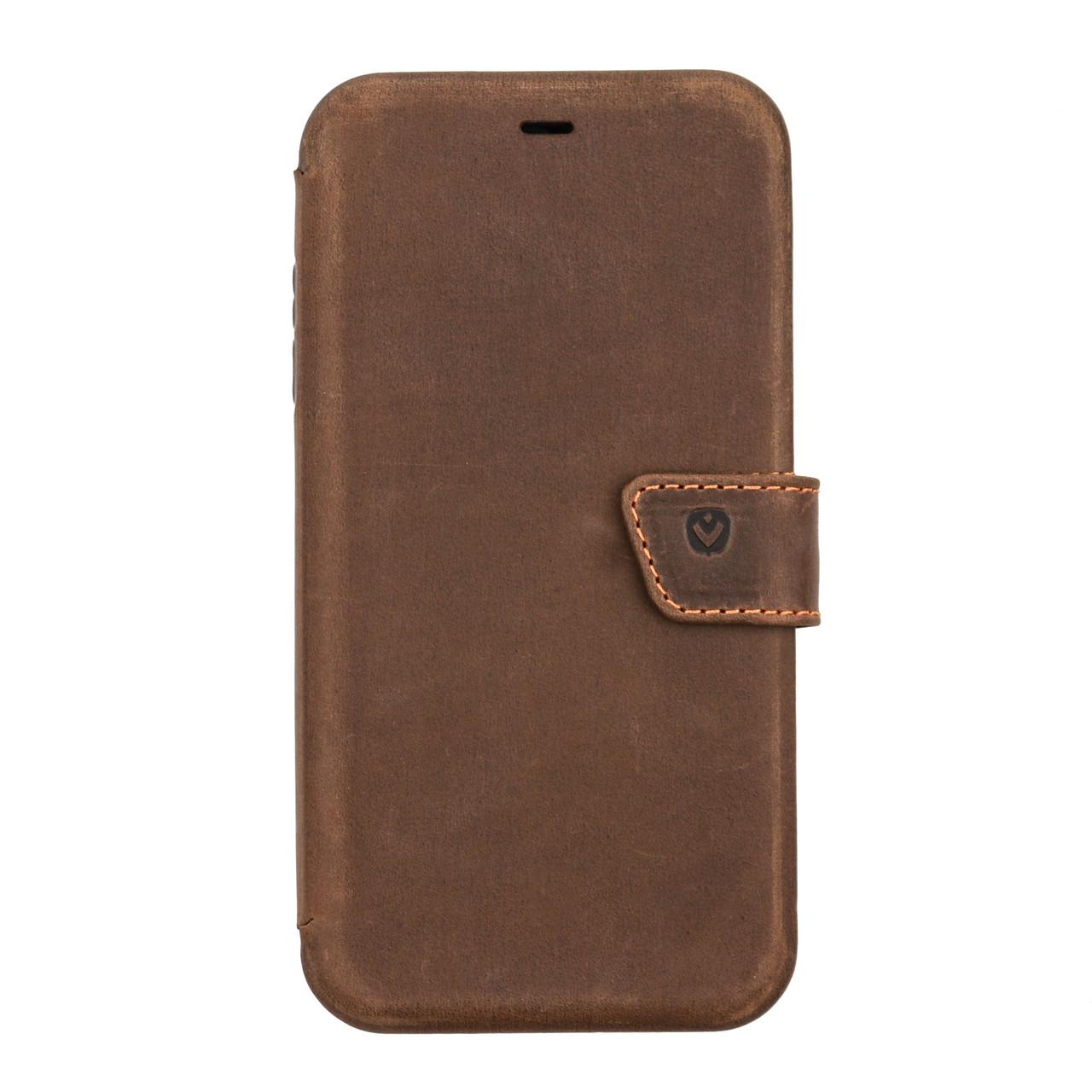 Кожаный чехол-книжка  VALENTA для iPhone XS Max Коричневый (С131182ipxsm)