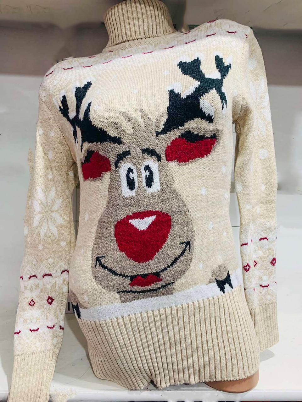 Вязаная зимняя туника-свитер с оленем 42-46 (в расцветках)
