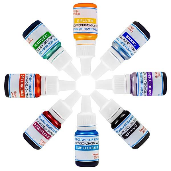 Светопрозрачные красители эпоксидной смолы, набор из 8 цветов, по 10 г
