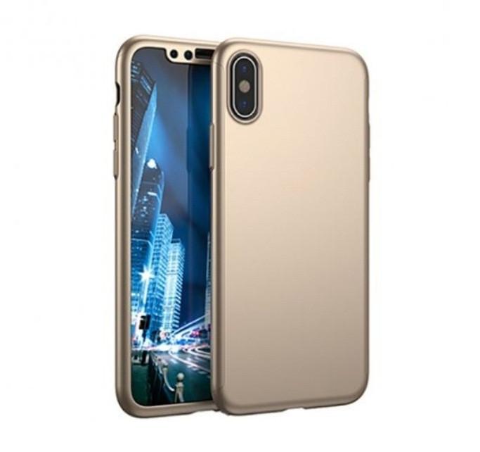 Чехол MakeF + стекло на iPhone Х/XS Gold (HbP050425)