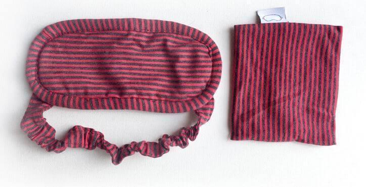 Маска для сна из хлопка Deco в полоску с чехлом Красно-серый (968-02)