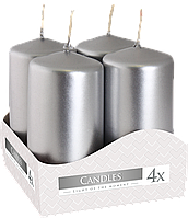Декоративные свечи, комплект из 4-х шт BISPOL sw40/80-x серебро (8 см)