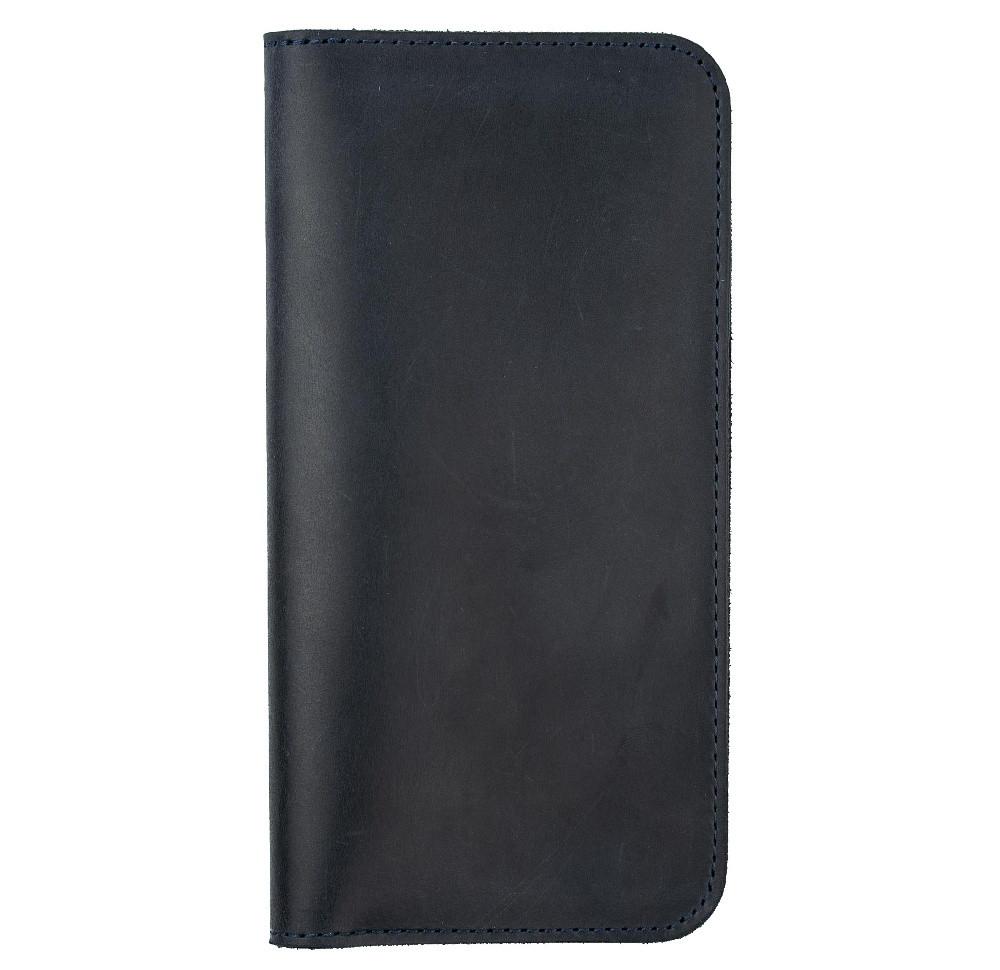 Шкіряний чохол-гаманець Valenta з відділенням для телефону до 5.8 дюймів Синій (C-1283_62)