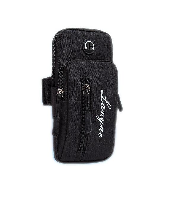Cумка для бега cумка - чехол на руку iRun с 3 карманами Черный (5516614)