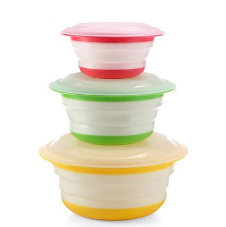Складна миска Feramo з кришкою 3 шт в комплекті для харчових продуктів Різнобарвний (67325595)