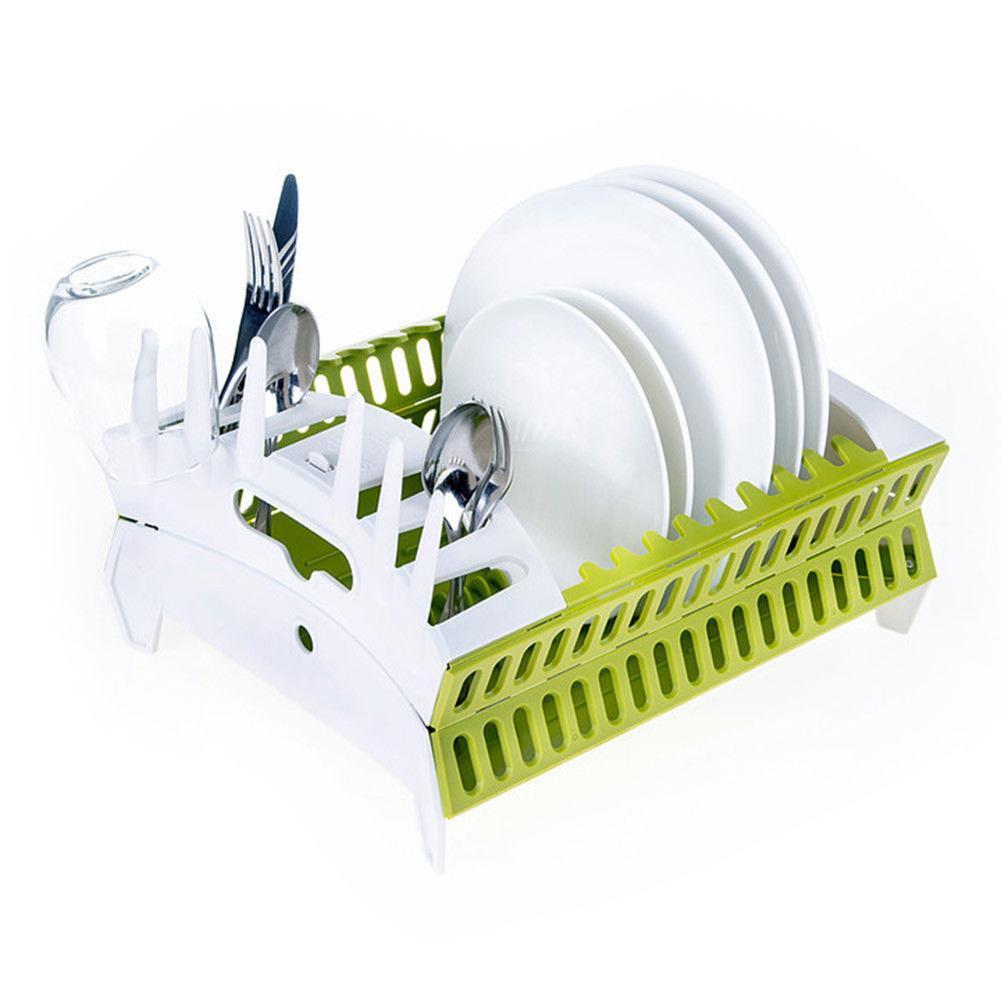Органайзер для посуды Compact Dish Rack складная сушилка для посуды Белый / Зеленый (1344322)