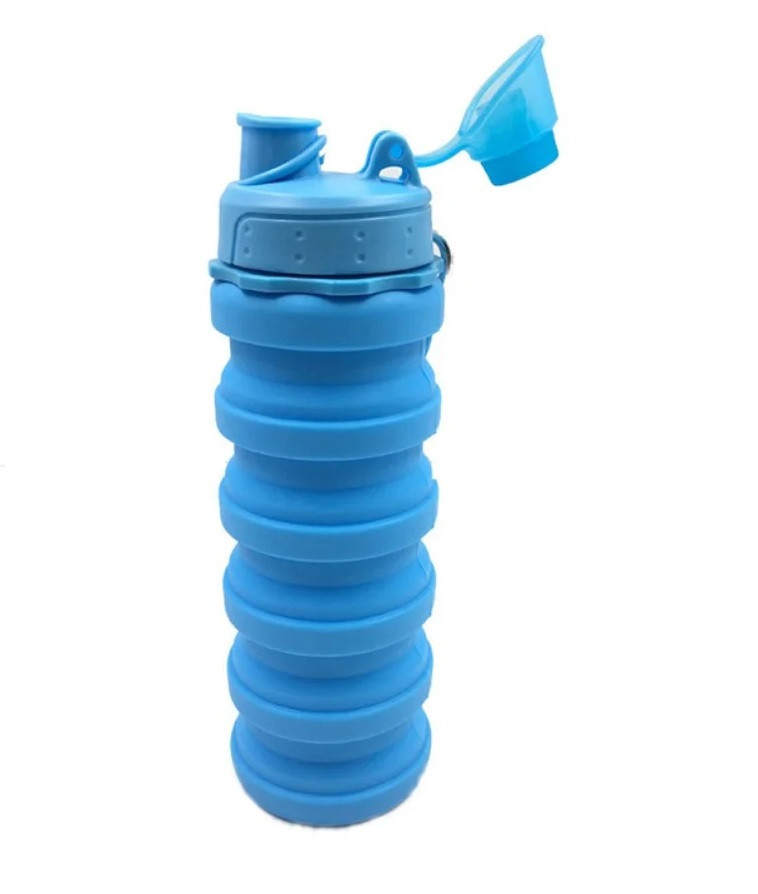 Складна силіконова пляшка для води та напоїв з карабіном Water Bottle Блакитна (74529943)