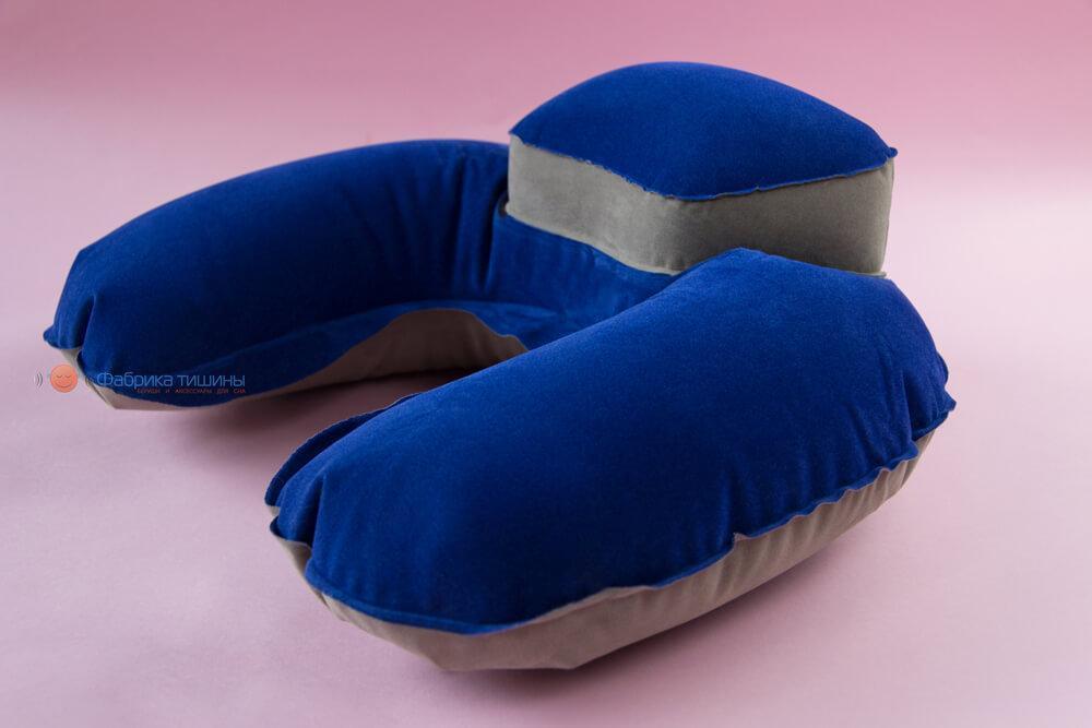 Подушка для путешествий Inflex надувная с подголовником Синий (954-02b)