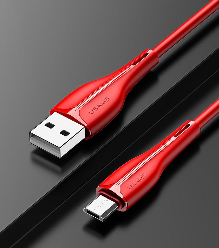 Кабель USAMS SJ373 2.0A U38 быстрой зарядки и передачи данных microUSB 1м Red