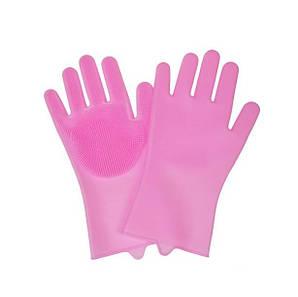 Силиконовые перчатки для мытья посуды Supretto Розовый (55940002)
