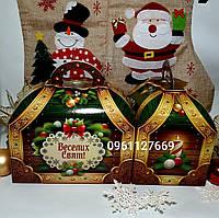 """Новогодняя картонная коробка-упаковка """"Сундук зеленый"""" на 600-800 грм"""