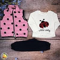 Костюм с розовой жилеткой для девочки Размеры: 92,98,104 см (01125-2)