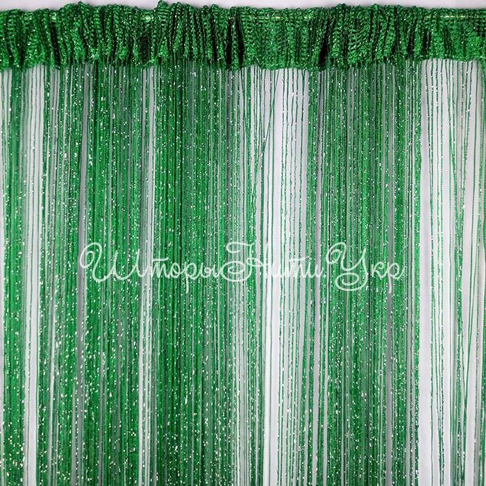 Шторы нити Тёмно зелёные Серебро / Дождь №211