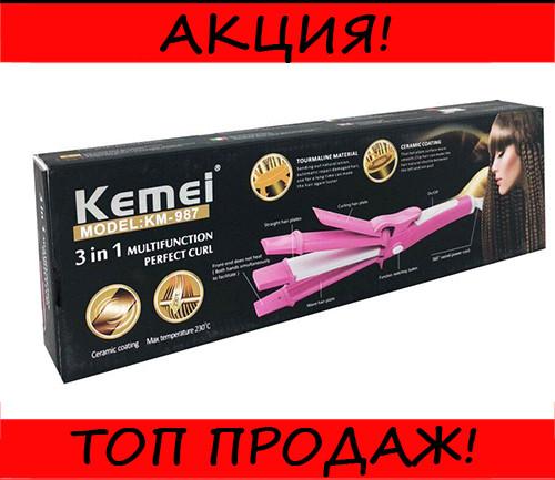 Плойка-утюжок Kemei GB-KM-987 3в1